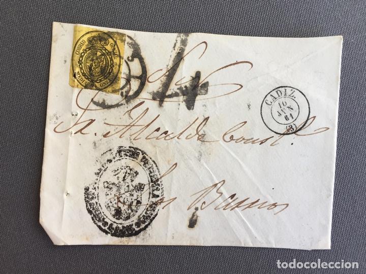 Sellos: LOTE DE 3 FRONTALES DE CARTAS SOBRES DE LOS BARRIOS , CADIZ 1861 , AL SR. ALCALDE N. 3 - Foto 3 - 173065944