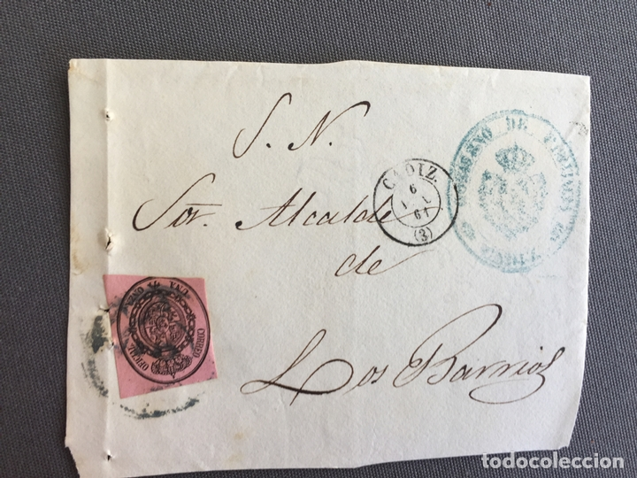 Sellos: LOTE DE 3 FRONTALES DE CARTAS SOBRES DE LOS BARRIOS , CADIZ 1861 , AL SR. ALCALDE N. 4 - Foto 2 - 173066005