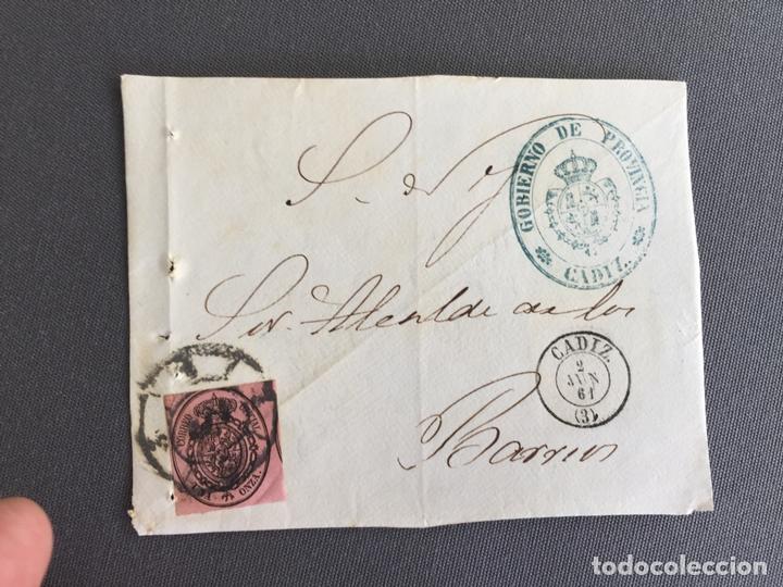 Sellos: LOTE DE 3 FRONTALES DE CARTAS SOBRES DE LOS BARRIOS , CADIZ 1861 , AL SR. ALCALDE N. 4 - Foto 3 - 173066005