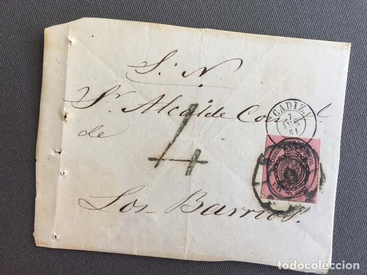 LOTE DE 3 FRONTALES DE CARTAS SOBRES DE LOS BARRIOS , CADIZ 1861 , AL SR. ALCALDE N. 4 (Sellos - España - Isabel II de 1.850 a 1.869 - Cartas)