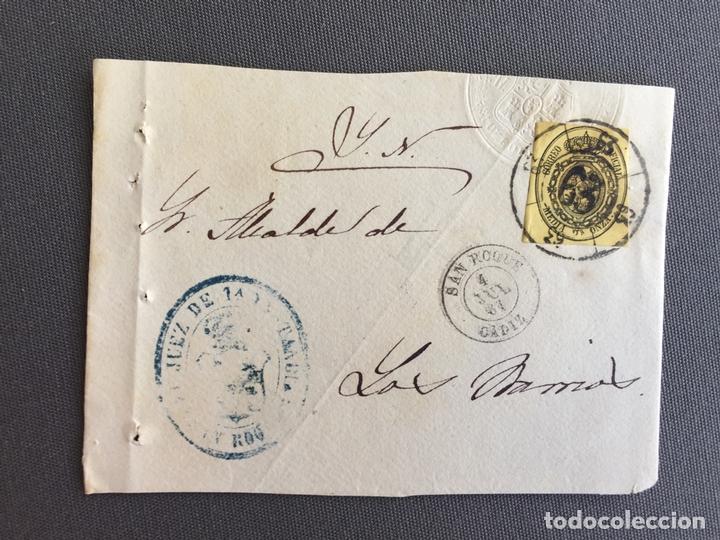 Sellos: LOTE DE 3 FRONTALES DE CARTAS SOBRES DE LOS BARRIOS , CADIZ 1861 , AL SR. ALCALDE N. 5 - Foto 2 - 173066069