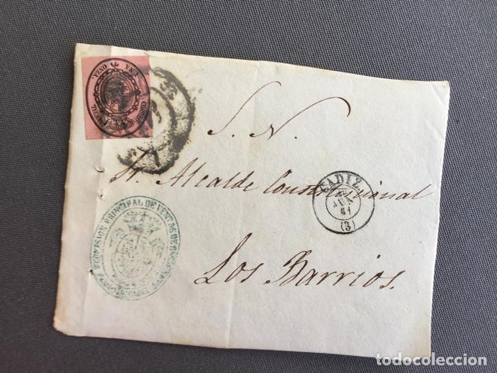 Sellos: LOTE DE 3 FRONTALES DE CARTAS SOBRES DE LOS BARRIOS , CADIZ 1861 , AL SR. ALCALDE N. 5 - Foto 3 - 173066069