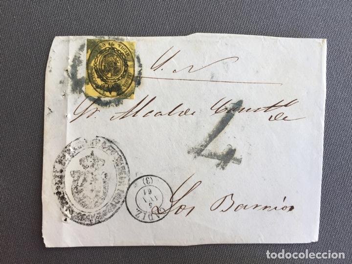 LOTE DE 3 FRONTALES DE CARTAS SOBRES DE LOS BARRIOS , CADIZ 1861 , AL SR. ALCALDE N. 5 (Sellos - España - Isabel II de 1.850 a 1.869 - Cartas)