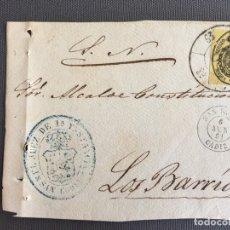 Sellos: LOTE DE 3 FRONTALES DE CARTAS SOBRES DE LOS BARRIOS , CADIZ 1861 , AL SR. ALCALDE N. 7. Lote 173067428