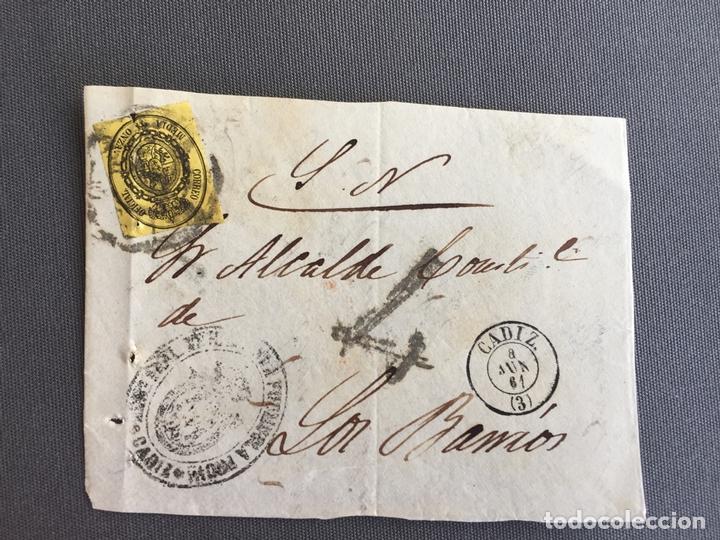 Sellos: LOTE DE 3 FRONTALES DE CARTAS SOBRES DE LOS BARRIOS , CADIZ 1860 , 1861 , AL SR. ALCALDE N. 9 - Foto 2 - 173067567