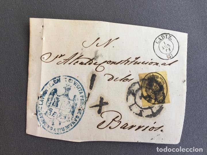 Sellos: LOTE DE 3 FRONTALES DE CARTAS SOBRES DE LOS BARRIOS , CADIZ 1860 , 1861 , AL SR. ALCALDE N. 9 - Foto 3 - 173067567