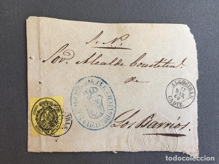 LOTE DE 3 FRONTALES DE CARTAS SOBRES DE LOS BARRIOS , CADIZ 1860 , 1861 , AL SR. ALCALDE N. 9 (Sellos - España - Isabel II de 1.850 a 1.869 - Cartas)