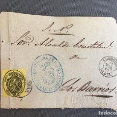 Sellos: LOTE DE 3 FRONTALES DE CARTAS SOBRES DE LOS BARRIOS , CADIZ 1860 , 1861 , AL SR. ALCALDE N. 9. Lote 173067567