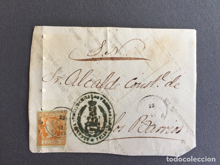 Sellos: LOTE DE 3 FRONTALES DE CARTAS SOBRES DE LOS BARRIOS , CADIZ 1861 , AL SR. ALCALDE N. 21 - Foto 2 - 173068705