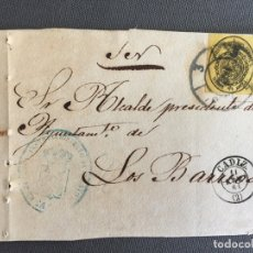 Sellos: LOTE DE 3 FRONTALES DE CARTAS SOBRES DE LOS BARRIOS , CADIZ 1861 , AL SR. ALCALDE N. 22. Lote 173068735