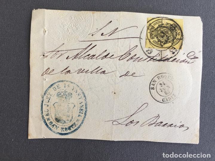 Sellos: LOTE DE 3 FRONTALES DE CARTAS SOBRES DE LOS BARRIOS , CADIZ 1861 , AL SR. ALCALDE N. 23 - Foto 2 - 173068795