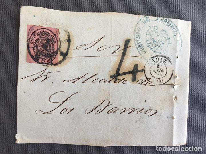 Sellos: LOTE DE 3 FRONTALES DE CARTAS SOBRES DE LOS BARRIOS , CADIZ 1861 , AL SR. ALCALDE N. 23 - Foto 3 - 173068795