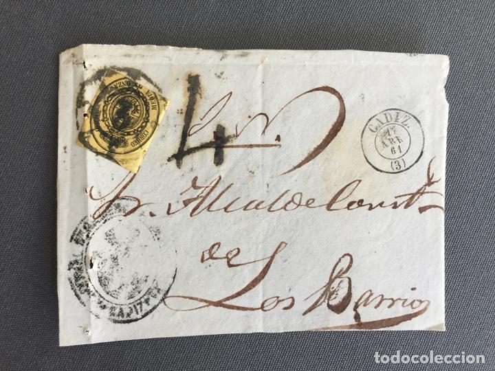 LOTE DE 3 FRONTALES DE CARTAS SOBRES DE LOS BARRIOS , CADIZ 1861 , AL SR. ALCALDE N. 23 (Sellos - España - Isabel II de 1.850 a 1.869 - Cartas)