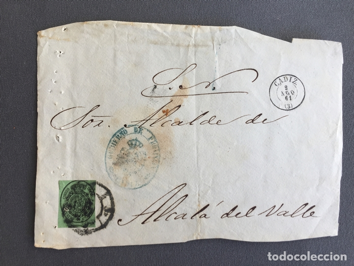 Sellos: LOTE DE 3 CARTAS , SOBRES DE ALCALÁ DEL VALLE , CADIZ 1857, 1860 , 1861 , AL SR. ALCALDE N. 27 - Foto 2 - 173071492
