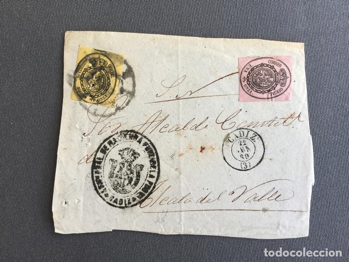 LOTE DE 3 CARTAS , SOBRES DE ALCALÁ DEL VALLE , CADIZ 1857, 1860 , 1861 , AL SR. ALCALDE N. 27 (Sellos - España - Isabel II de 1.850 a 1.869 - Cartas)