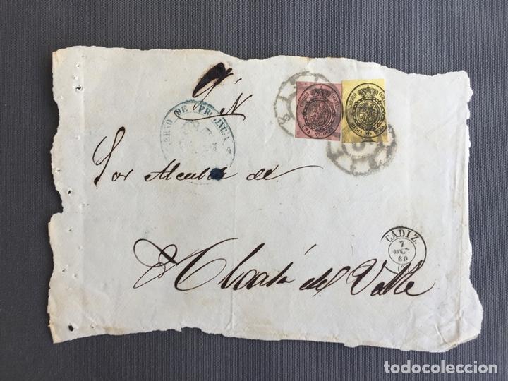 Sellos: LOTE DE 3 CARTAS , SOBRES DE ALCALÁ DEL VALLE , CADIZ 1860 , AL SR. ALCALDE N. 28 - Foto 2 - 173071572