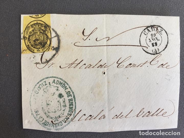 LOTE DE 3 CARTAS , SOBRES DE ALCALÁ DEL VALLE , CADIZ 1859 , 1860 , AL SR. ALCALDE N. 29 (Sellos - España - Isabel II de 1.850 a 1.869 - Cartas)
