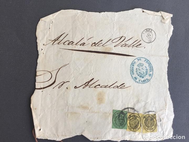 LOTE DE 2 CARTAS , SOBRES DE ALCALÁ DEL VALLE , CADIZ 1860 , AL SR. ALCALDE N. 31 (Sellos - España - Isabel II de 1.850 a 1.869 - Cartas)