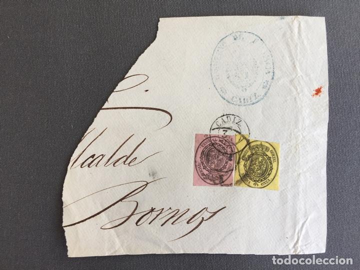 CARTA , SOBRE DE BORNOS , CADIZ 1862 , AL SR. ALCALDE N. 37 (Sellos - España - Isabel II de 1.850 a 1.869 - Cartas)