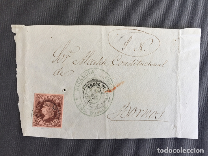 CARTA , SOBRE DE BORNOS , CADIZ 1862 APROX. , AL SR. ALCALDE N. 43 (Sellos - España - Isabel II de 1.850 a 1.869 - Cartas)