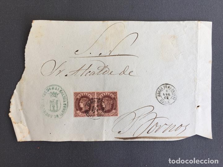 CARTA , SOBRE DE BORNOS , CADIZ 1862. , AL SR. ALCALDE N. 46 (Sellos - España - Isabel II de 1.850 a 1.869 - Cartas)