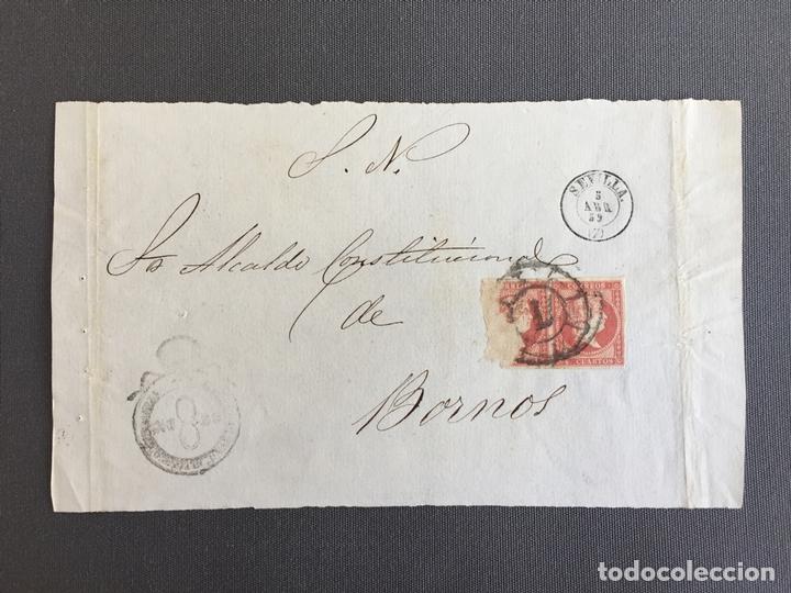 CARTA , SOBRE DE BORNOS , CADIZ 1859. , AL SR. ALCALDE N. 48 (Sellos - España - Isabel II de 1.850 a 1.869 - Cartas)