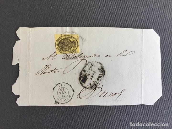 CARTA , SOBRE DE BORNOS , CADIZ 1862 , AL SR. ALCALDE N. 50 (Sellos - España - Isabel II de 1.850 a 1.869 - Cartas)