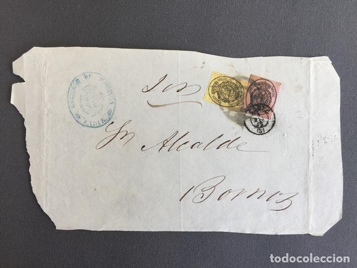 CARTA , SOBRE DE BORNOS , CADIZ 1862 APROX . , AL SR. ALCALDE N. 51 (Sellos - España - Isabel II de 1.850 a 1.869 - Cartas)