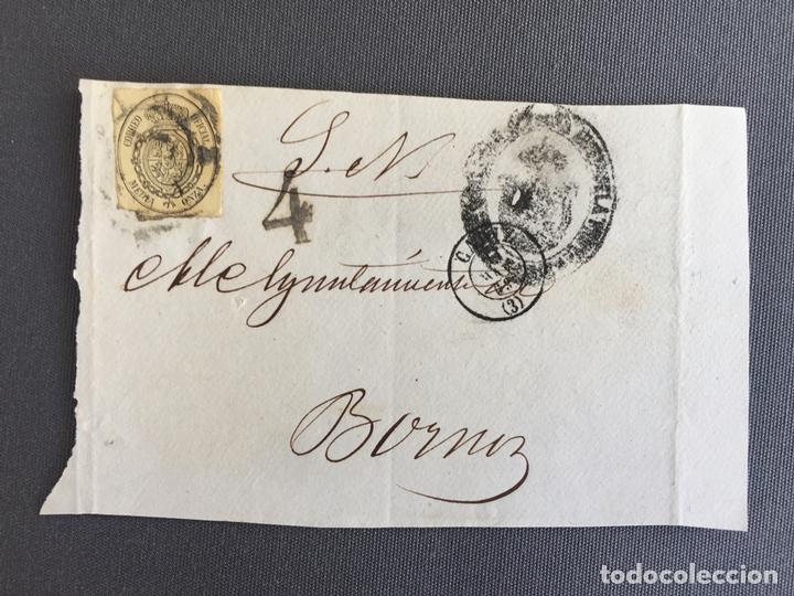 CARTA , SOBRE DE BORNOS , CADIZ 1863 APROX . , AL SR. ALCALDE N. 53 (Sellos - España - Isabel II de 1.850 a 1.869 - Cartas)