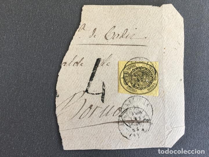 CARTA , SOBRE DE BORNOS , CADIZ 1863 APROX . , AL SR. ALCALDE N. 54 (Sellos - España - Isabel II de 1.850 a 1.869 - Cartas)