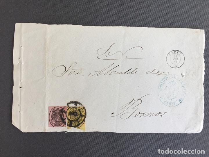 CARTA , SOBRE DE BORNOS , CADIZ 1861 APROX . , AL SR. ALCALDE N. 56 (Sellos - España - Isabel II de 1.850 a 1.869 - Cartas)