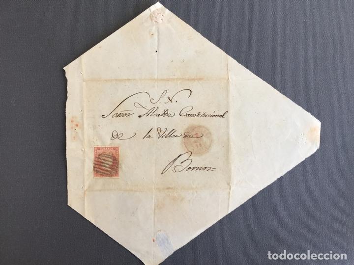 SOBRE CIRCULADO CARTA SELLO BORNOS CADIZ 1858 AL ALCALDE N 59 (Sellos - España - Isabel II de 1.850 a 1.869 - Cartas)