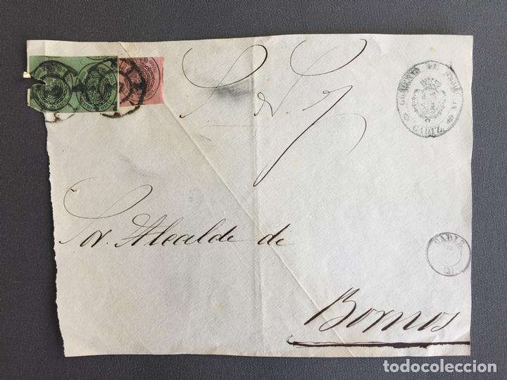SOBRE CIRCULADO CARTA SELLO BORNOS CADIZ 1860 APROXIMADAMENTE AL ALCALDE N 62 (Sellos - España - Isabel II de 1.850 a 1.869 - Cartas)