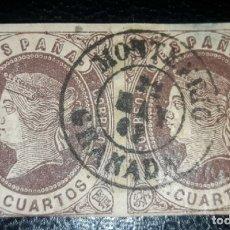 Sellos: EDIFIL 58 US. 4 CUARTOS ISABEL II MATASELLO FECHADOR MONTEFRÍO/GRANADA TIPO II.. Lote 173630918