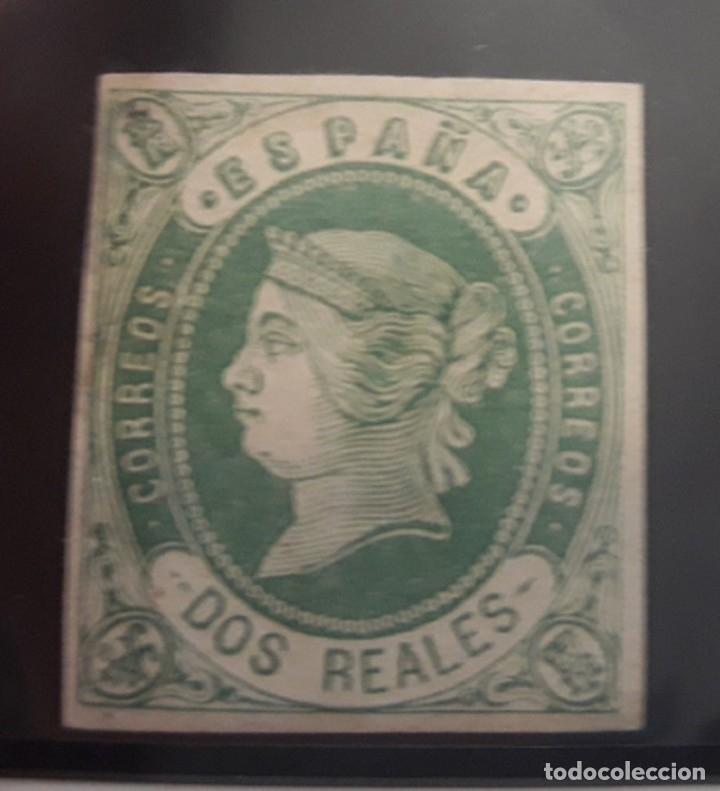 ESPAÑA. EDIFIL 62 *. 2 REALES VERDE ISABEL II EN NUEVO. (Sellos - España - Isabel II de 1.850 a 1.869 - Nuevos)