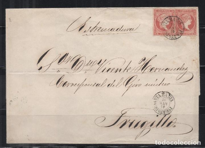 ESPAÑA=CARTA A TRUJILLO_PRECIOSO FRANQUEO_ VER 2 FOTOS (Sellos - España - Isabel II de 1.850 a 1.869 - Cartas)