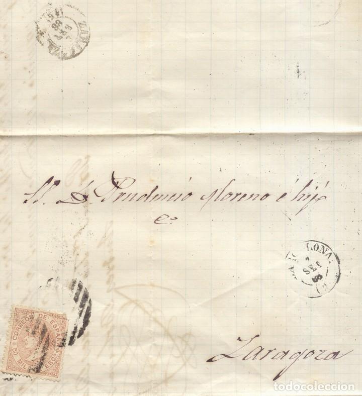 AÑO 1867 EDIFIL 96 ISABEL II CARTA MATASELLOS REJILLA CIFRA 2 BARCELONA A ZARAGOZA (Sellos - España - Isabel II de 1.850 a 1.869 - Cartas)