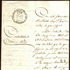 Sellos: GIROEXLIBRIS. MANUSCRITO CON FRANQUICIA DEL GOBIERNO DE LA PROVINCIA DE GERONA AL BARON DE CAÑELLAS. Lote 174371945