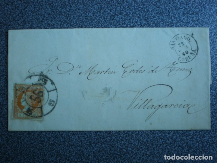 CARTA COMPLETA AÑO 1860 RUEDA CARRETA SANTIAGO Nº 56 SOBRE EDIFIL 52 LUJO A VILLAGARCIA (Sellos - España - Isabel II de 1.850 a 1.869 - Cartas)