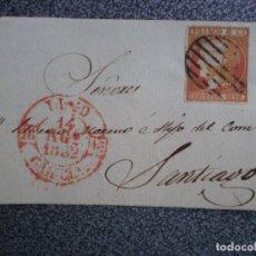 Sellos: FRONTAL CARTA AÑO 1852 BAEZA DE LUGO A SANTIAGO PARRILLA SOBRE EDIFIL 24. Lote 174498640