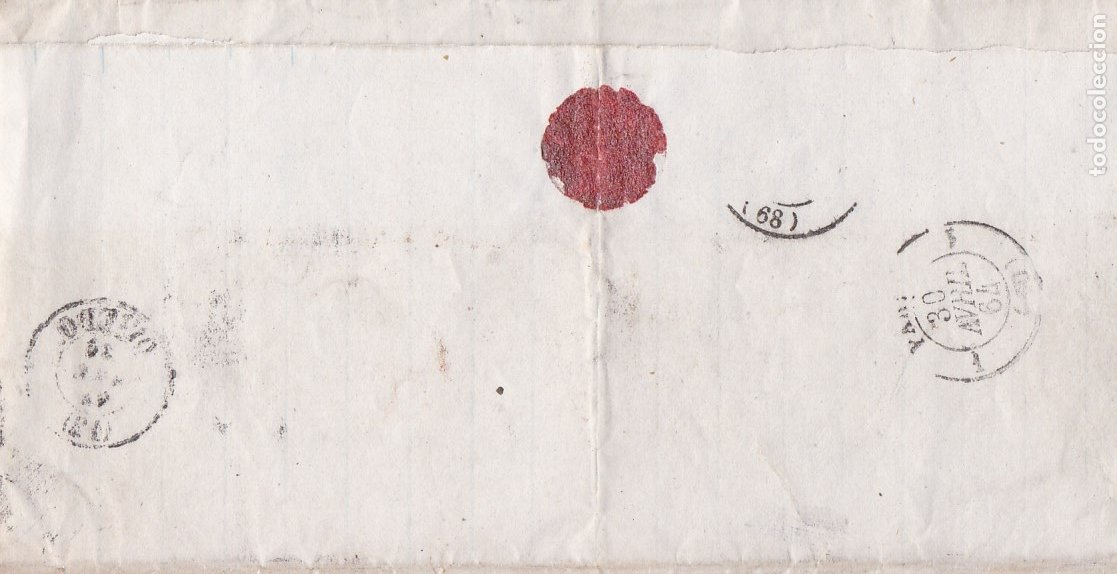 Sellos: F8-1- FALSO FILATELICO. Envuelta OVIEDO -FRANCIA 1864 - Foto 4 - 175179463
