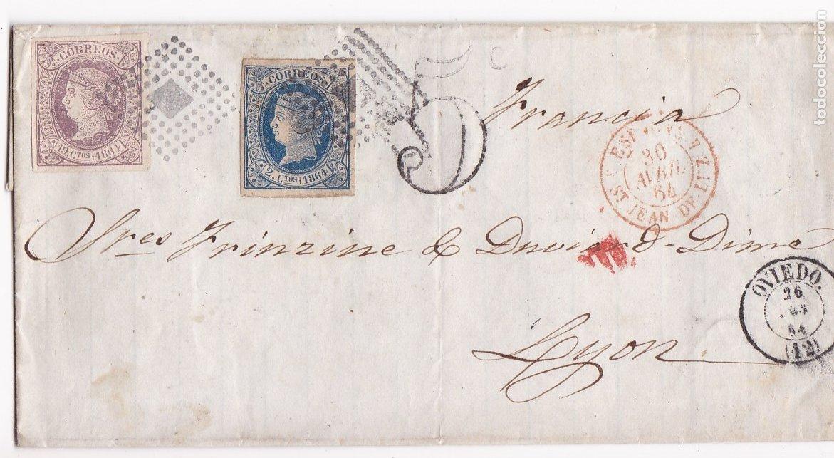 F8-1- FALSO FILATELICO. ENVUELTA OVIEDO -FRANCIA 1864 (Sellos - España - Isabel II de 1.850 a 1.869 - Cartas)