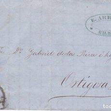 Sellos: F8-2- FALSO FILATELICO. CARTA COMPLETA BILBAO- ORTIGOSA 1862. Lote 175179787