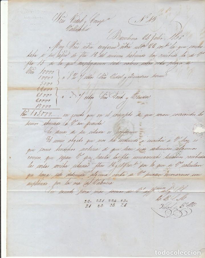 Sellos: Sello 48. ISABEL II. BARCELONA a VALLADOLID. 1856. - Foto 3 - 175197007