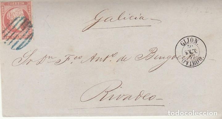 FRONTAL. SELLO 48. ISABEL II. GIJON A RIVADEO 1857 (Sellos - España - Isabel II de 1.850 a 1.869 - Cartas)