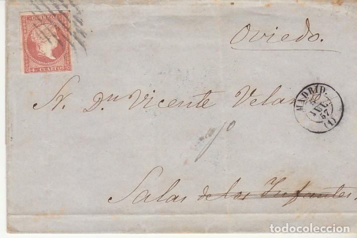 FRONTAL. SELLO 48. ISABEL II. MADRID A SALAS DE LOS INFANTES. 1857 (Sellos - España - Isabel II de 1.850 a 1.869 - Cartas)