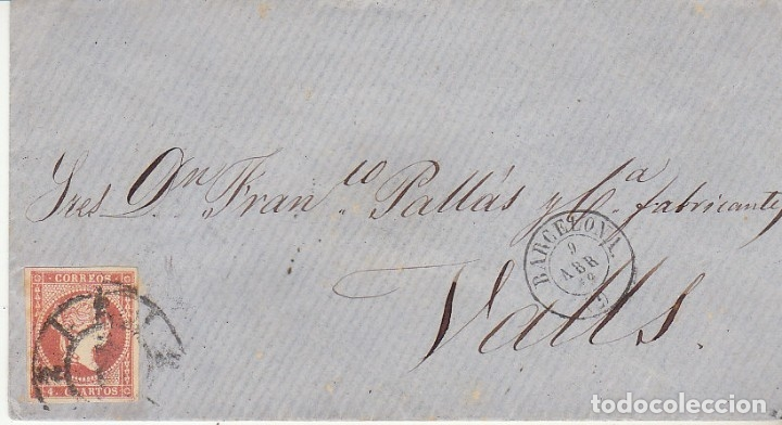 SOBRE :SELLO 48. ISABEL II. BARCELONA A VALLS. 1859 (Sellos - España - Isabel II de 1.850 a 1.869 - Cartas)
