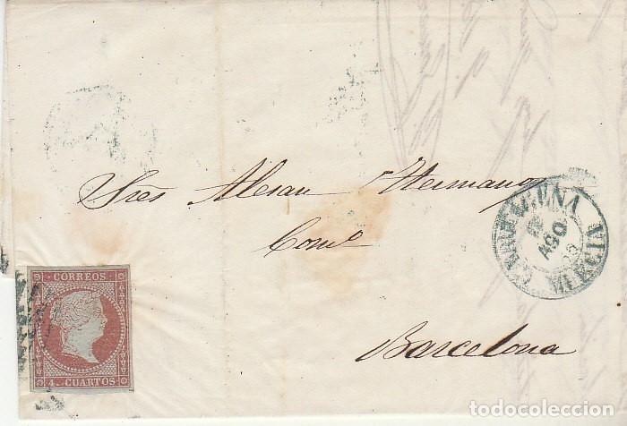 SELLO 40. ISABEL II. CARTAGENA A BARCELONA. 1855 (Sellos - España - Isabel II de 1.850 a 1.869 - Cartas)