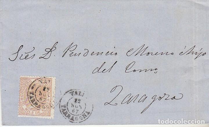 SELLO 96. ISABEL II. VALLS A ZARAGOZA. 1867 (Sellos - España - Isabel II de 1.850 a 1.869 - Cartas)