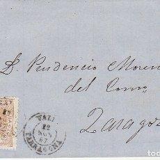 Sellos: SELLO 96. ISABEL II. VALLS A ZARAGOZA. 1867. Lote 175213688
